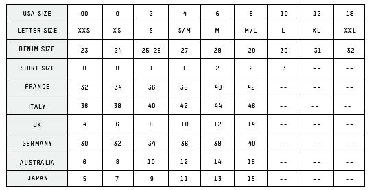 CURRENT/ELLIOT SIZE CHART