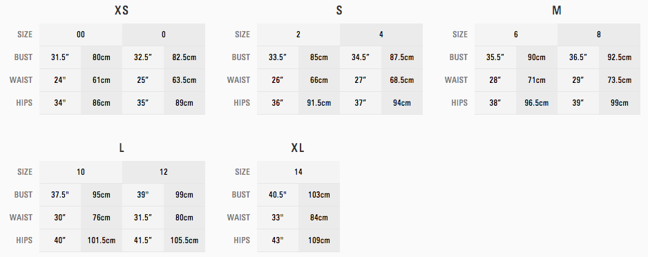MARC JACOBS SIZE GUIDE