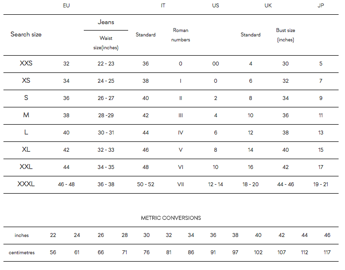 Red Valentino Size Chart