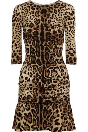 Dolce Gabbana Ruched Leopard Print Dress