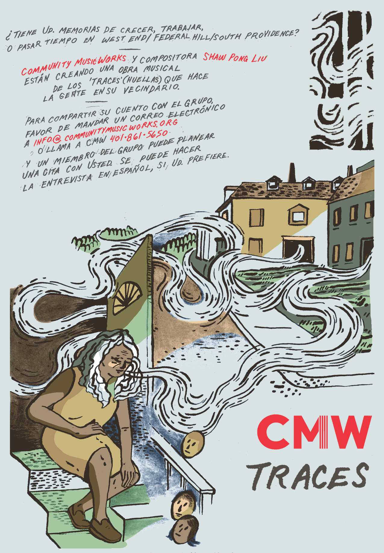 Detail from CMW Traces poster I designed, to recruit