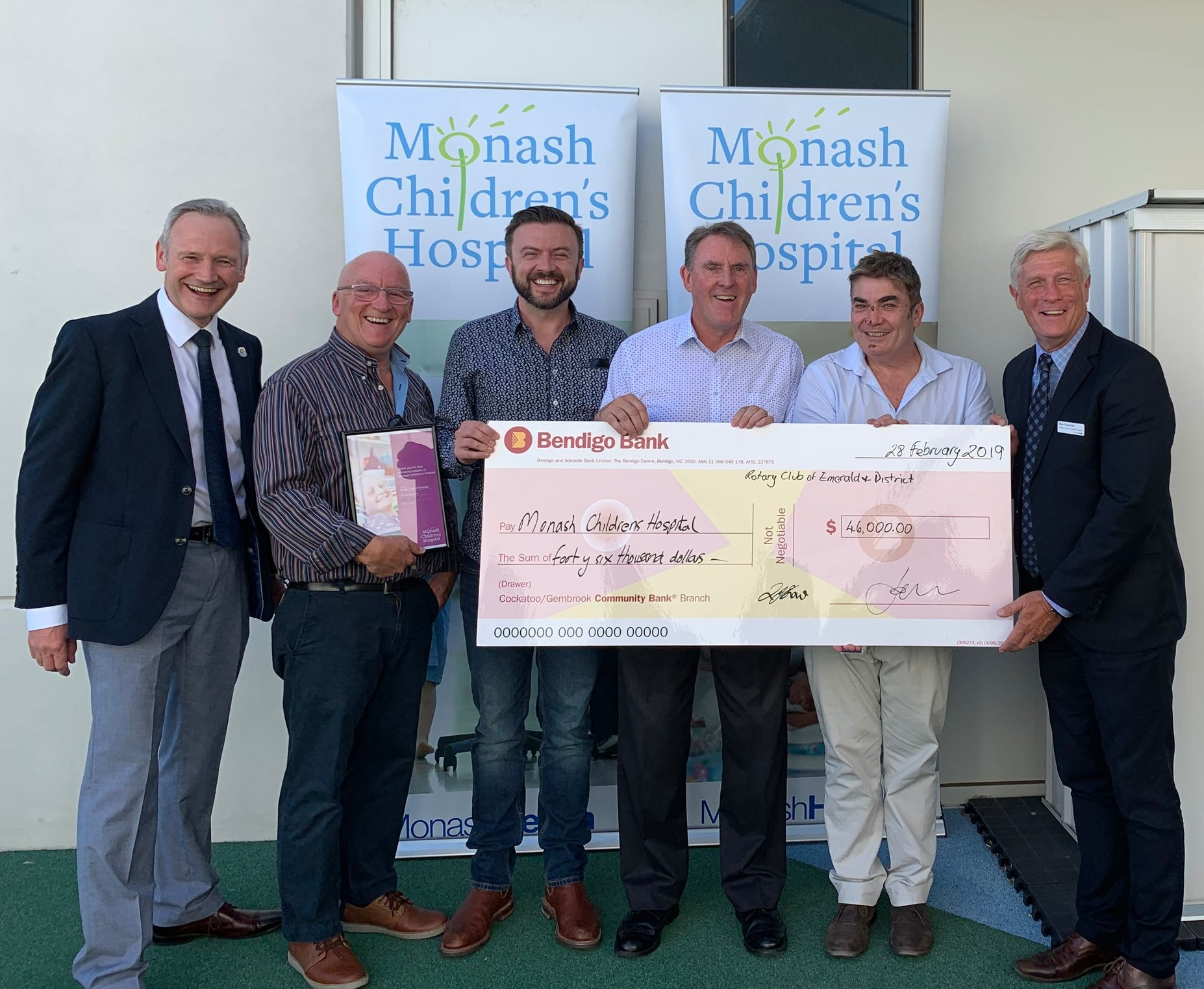 Our MANAGING DIRECTOR Ben O'ConnoR handing a cheque over to Monash Children's Hospital