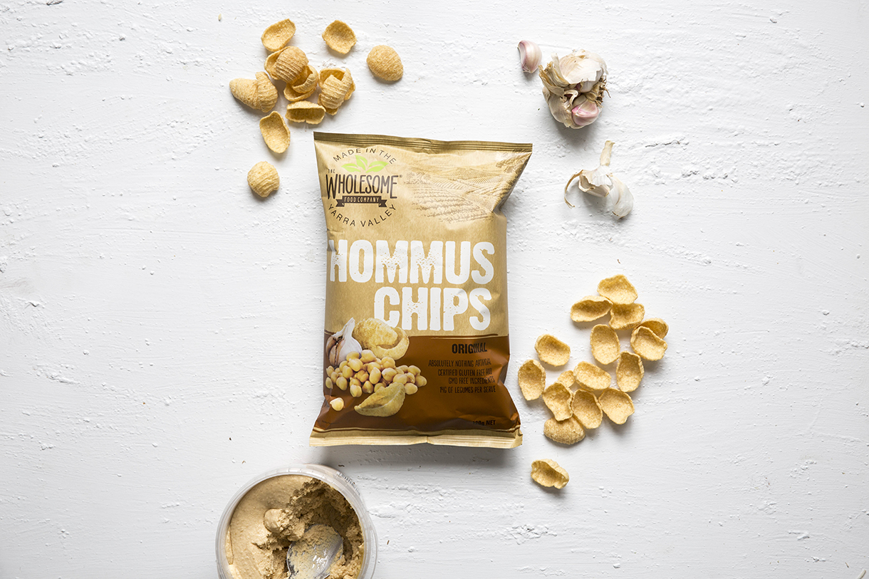 Hommus Chips - Our Hommus chips are a gluten free snack, with absolutely nothing artificial added. The unique combination of chickpeas and garlic delivers the flavours of the middle east, with a little extra crunch. Available in a 120g pack, with 14g's of legumes per serve.View ingredients