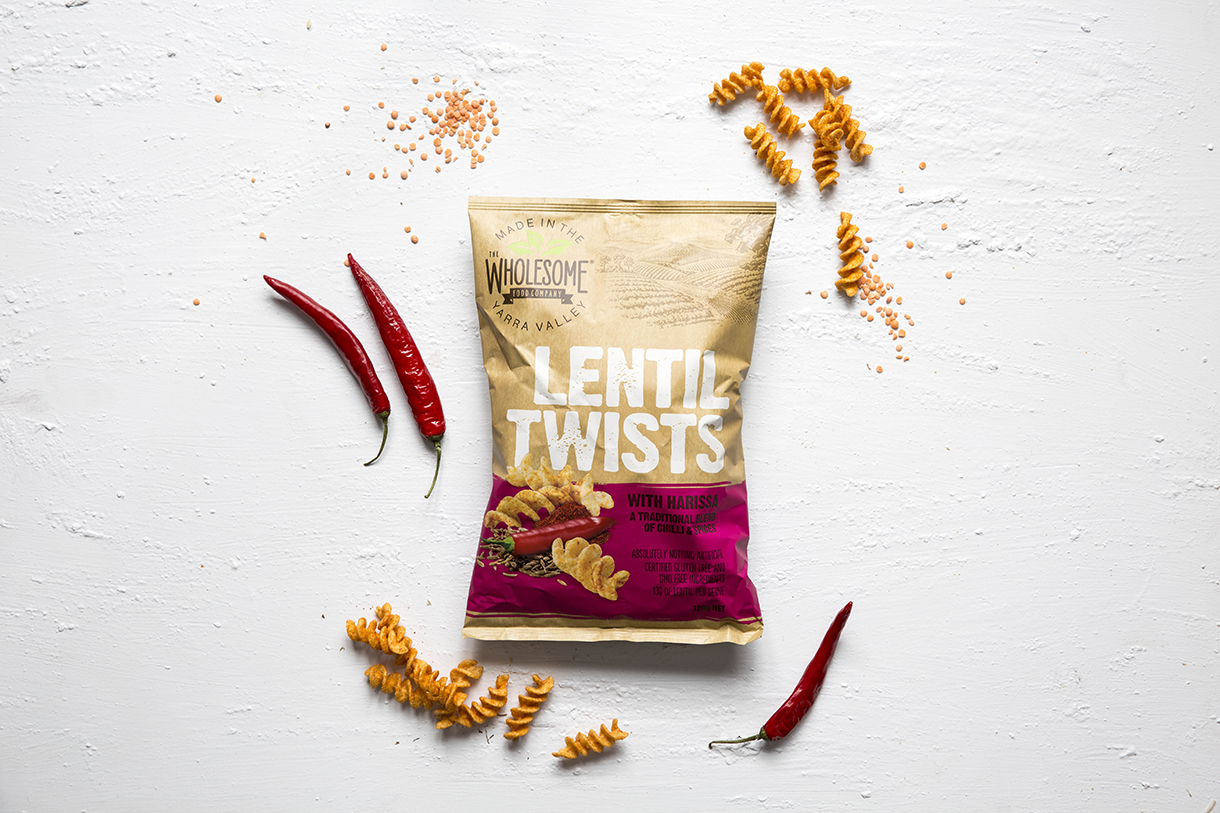 Lentil Twists with Harissa - Our Lentil Twists are a gluten free snack made from lentils that are perfectly seasoned with a traditional mix of dried red chillies and coriander. The flavour of harissa makes them irresistibly moreish with just the right amount of heat! Available in a 120g pack with 13g's of lentils per serveView ingredients