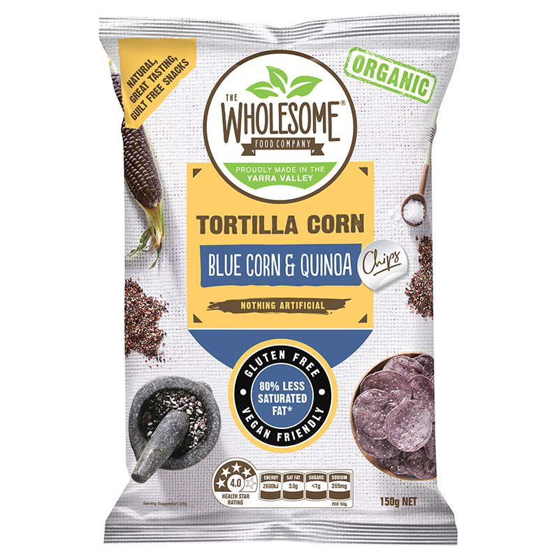 Blue Corn & Quinoa (Organic) - Our Organic Blue Corn Chips are a deletable gluten free snack, made from premium organic blue corn and blended with black, red and white quinoa. Quinoa has been known as a superfood for over thousands of years containing all 9 essential amino acids. We cook our blue corn chips in organic sunflower oil and sprinkle them with sea salt for an irresistibly moreish and crunchy treat.