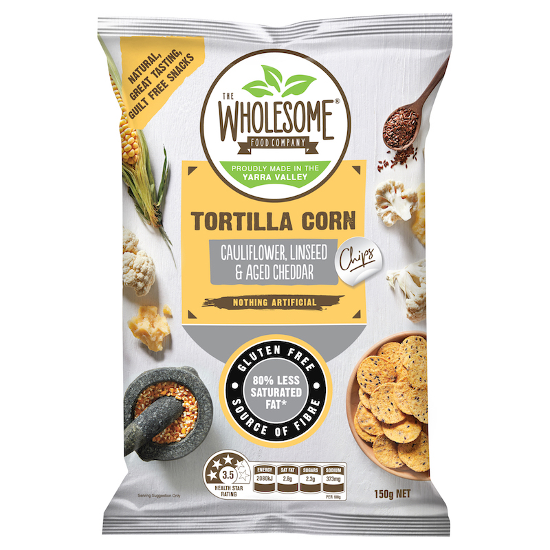 Cauliflower, Linseed & Aged Cheddar - Our Tortilla Corn Chips with vegetables are a delectable, gluten free snack. Made from Australian wholegrain corn that is stone ground on a traditional mill, with added cauliflower, a sprinkle of linseed and a delicious aged cheddar cheese seasoning, they are an irresistibly moreish and crunchy snack.