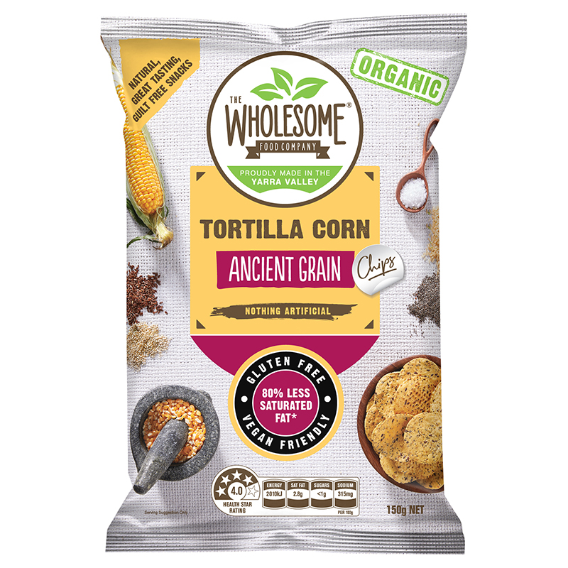 Ancient Grain (Organic) - Our Organic Ancient Grain Corn Chips are a delectable, gluten free snack, made from premium organic Australian wholegrain corn that is ground on a traditional stone mill. What sets them apart from any other chip is that they contain a blend of five revered grains and seeds including corn, chia, linseed, brown rice and quinoa. These prized food sources of civilisations dating back thousands of years have now been combined to create a veritable 'super' chip. Cooked in organic sunflower oil and sprinkled with just the right amount of sea salt, they are an irresistibly moreish and crunchy treat.
