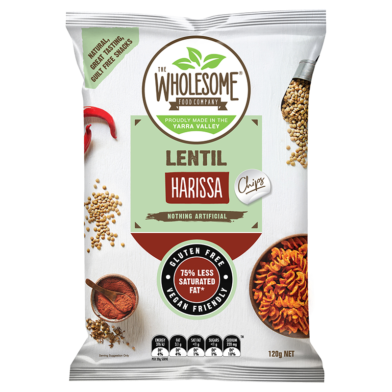 Harissa - The humble lentil has been a staple of mediterranean diet for centuries. Originally considered food for the peasants who often used it in place of a protein source, it was Hippocrates, the father of medicine who first recognised the lentil's nutritious value. We thought they'd be ideal as a snack, so we've taken this nourishing legume and used it to create our lentil chip, offering a new and convenient way to enjoy this wholesome food. Seasoned with the zesty flavour of harissa and infused with a traditional spice mix including paprika, crushed red chillies and coriander, these chips are an irresistibly moreish and crunchy treat for the more adventurous palette.