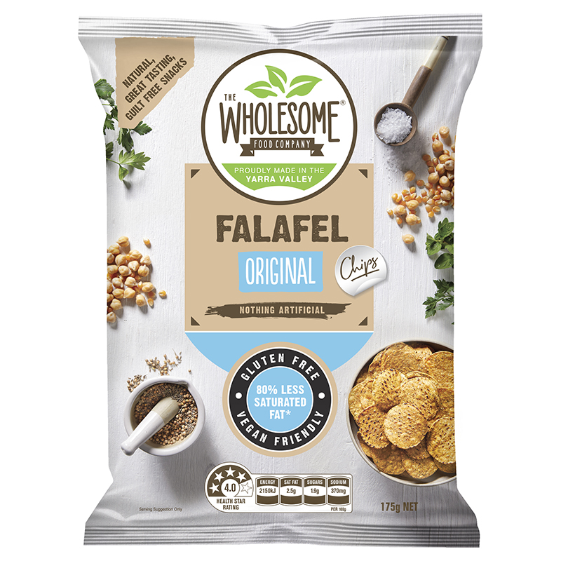 Falafel Original - Our Falafel Chips are a delectable, gluten free snack made from chickpea flour and wholegrain corn that is stone ground on a traditional mill. Originally a middle eastern delicacy, the subtle and various spices of the falafel have been transformed into a chip that delivers those authentic flavours with a little extra crunch.