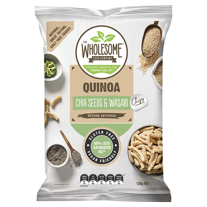 Chia Seeds & Wasabi - Our Quinoa Straws are a delectable gluten free snack combining the ancient grains of quinoa and chia, known for their powerful antioxidant properties over main centuries. Finished with a tantalising wasabi seasoning, they make for an irresistibly moreish and crunchy treat.