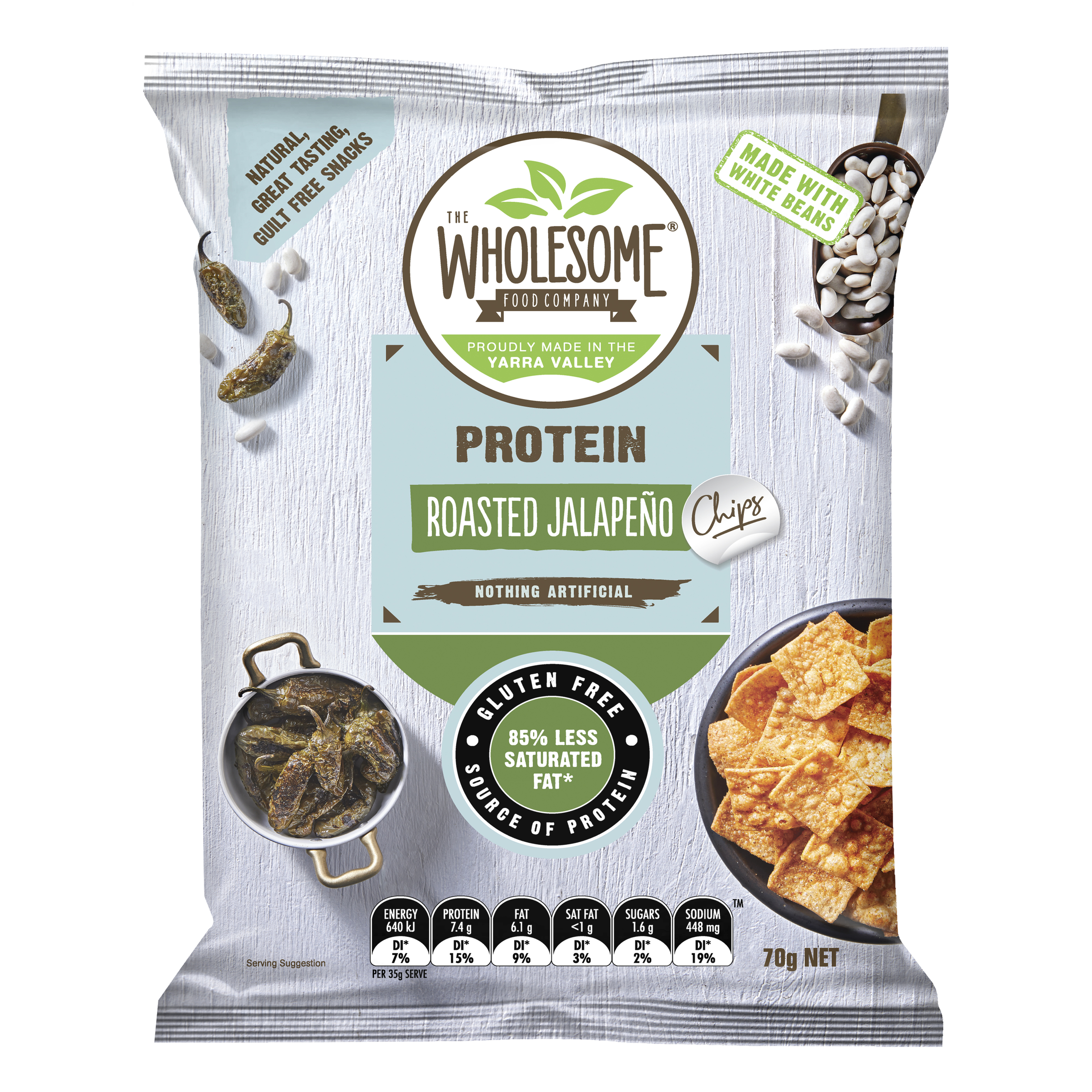 Roasted Jalapeno - Our roasted jalapeno protein chips use a plant based and vegan friendly protein derived from nutritious white beans. So in addition to bring a source of natural protein, they are also highly fibrous to keep you fuller for longer. Our protein chips are seasoned with a fire roasted jalapeno seasoning to deliver an irresistibly moreish, crunchy treat to satisfy your savoury cravings.
