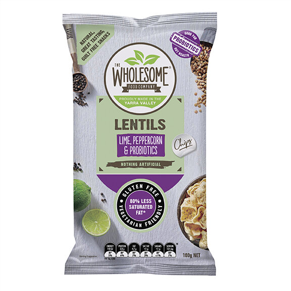 Lime, Peppercorn & Probiotics - We've taken the essence of a nourishing legume and used it to create our lentil chips, offering a new and convenient way to enjoy this wholesome food. Seasoned with a delightful balance of lime and peppercorn, they are an irresistibly moreish treat, and they come with the added benefit of 2 gut friendly probiotics that can improve digestive health.