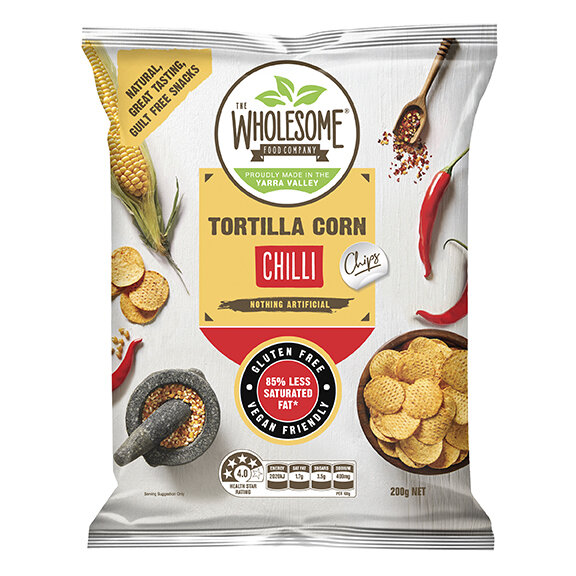 Chilli - Our tortilla corn chips are a delectable, gluten free snack, made from Australian wholegrain corn that is stone ground on a traditional mill. Sprinkled with a mild chilli seasoning to give a hint of spice, they make for an irresistibly more and crunchy treat.