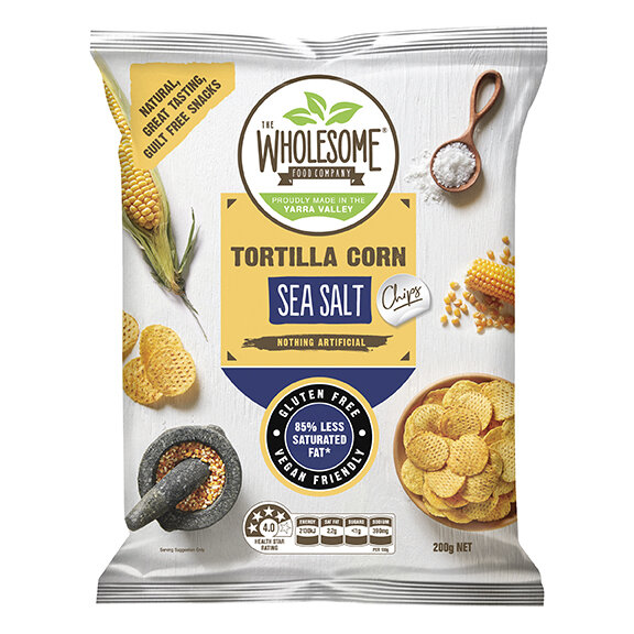 Sea Salt - Our tortilla corn chips are a delectable, gluten free snack, made from Australian wholegrain corn that is stone ground on a traditional mill. Sprinkled with sea salt, they make for an irresistibly moreish and crunchy treat.
