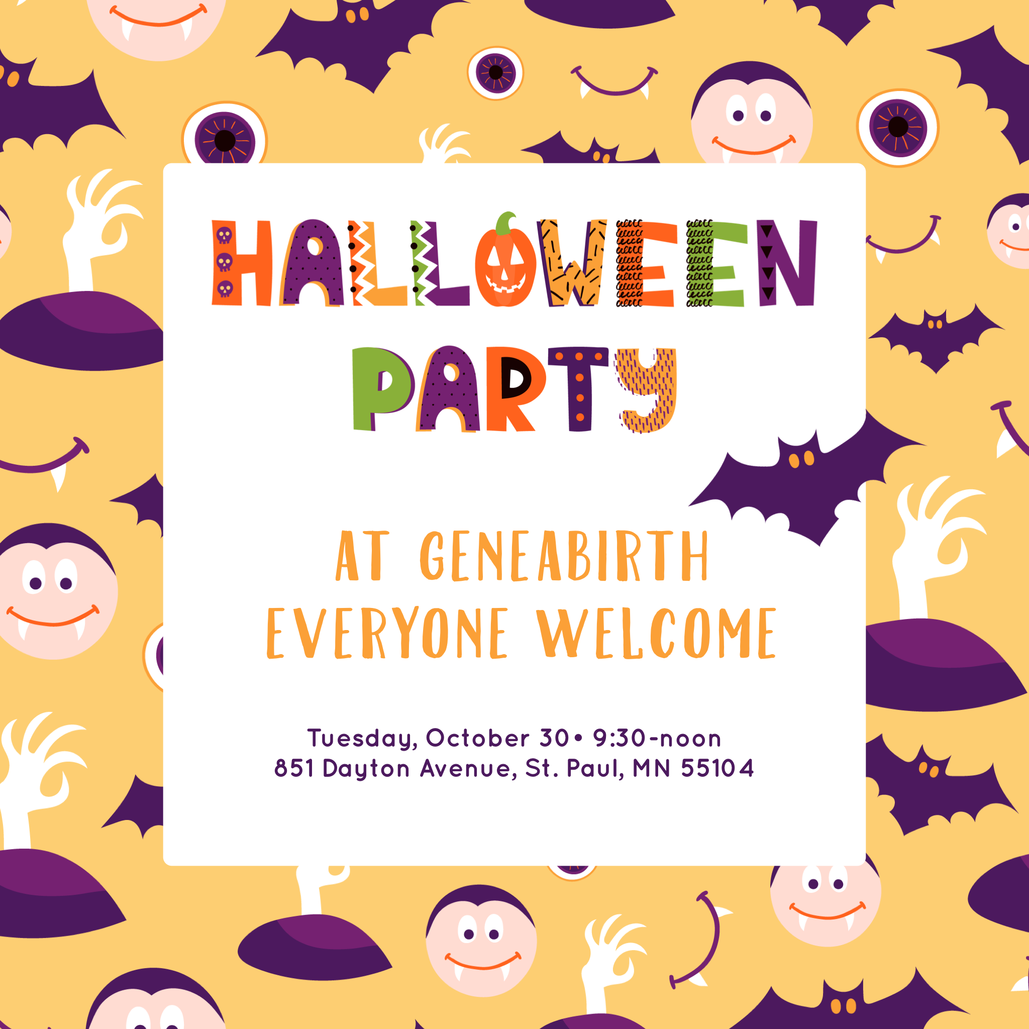 Join us for some Halloween fun! - Halloween sensory bin—Toddler/preschooler craft—Halloween goodies!We have plenty of comfy places to sit and toys for the little ones. We'll have coffee, tea and some snacks to share. Potluck snacks are encouraged, but don't worry if you are not able to bring a snack, just bring yourself and your little ones. If your baby is too small for crafts and party activities, join us anyway for a cup of tea and some conversation.This event is open to the whole community. You do not need to be a geneabirth client to come.We hope to see you there,Sarah & Erin