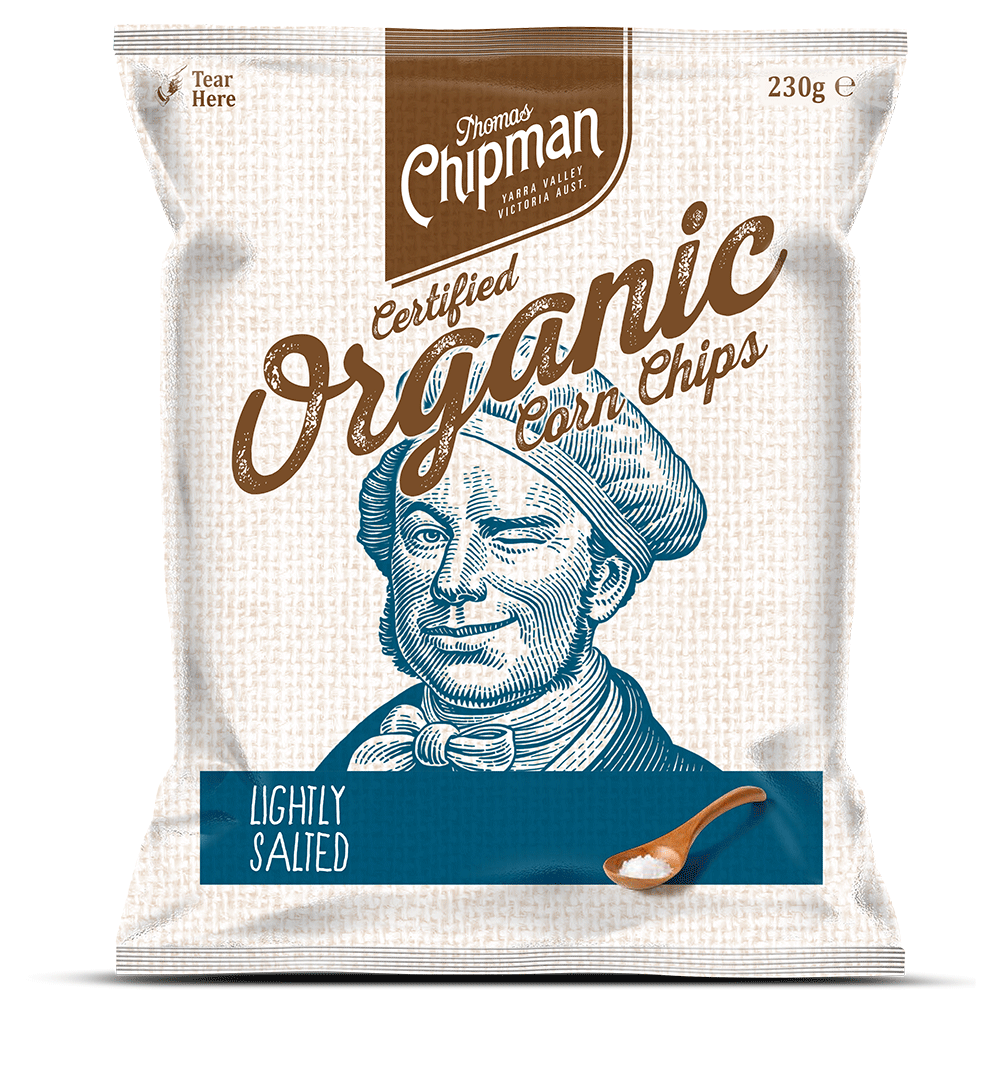 - Thomas Chipman® Lightly Salted Original Corn ChipsMy proudest moment – the creation of the first certified organic, 100% gluten free corn chip made in Australia. Big on fresh corn flavour and light on salt. You can taste the difference. Available in a 230g and 500g pack.