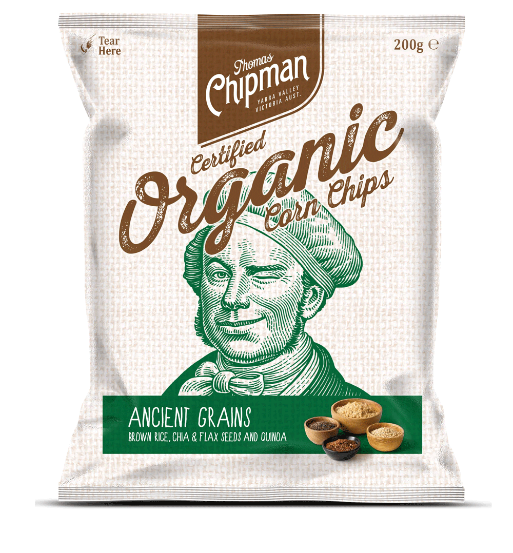 - Thomas Chipman® Ancient Grains Corn ChipsA truly remarkable corn chip with a taste like no other. A deliciously satisfying treat, made from 100% Australian corn blended with a mix of ancient grains and seeds, comprising chia seed, linseed, brown rice and quinoa. Available in a 200g pack.