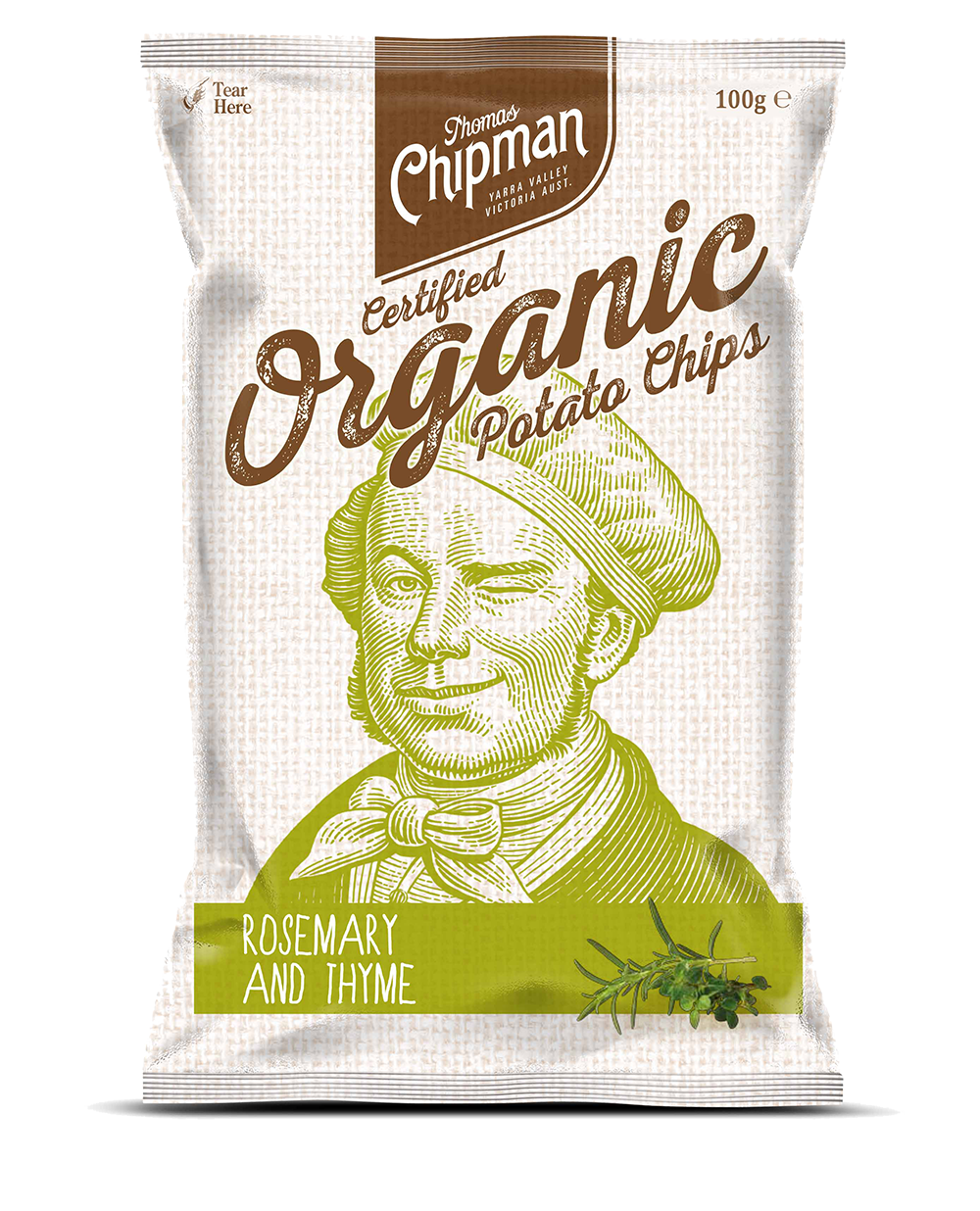- Thomas Chipman® Rosemary & Thyme Potato ChipsAfter mastering the perfect organic potato chip, I soon realised that some people might like a little extra flavour. So I added two of my favourite herbs, ones that work so harmoniously well with the humble potato, to create a truly delectable chip. Available in a 100g pack.