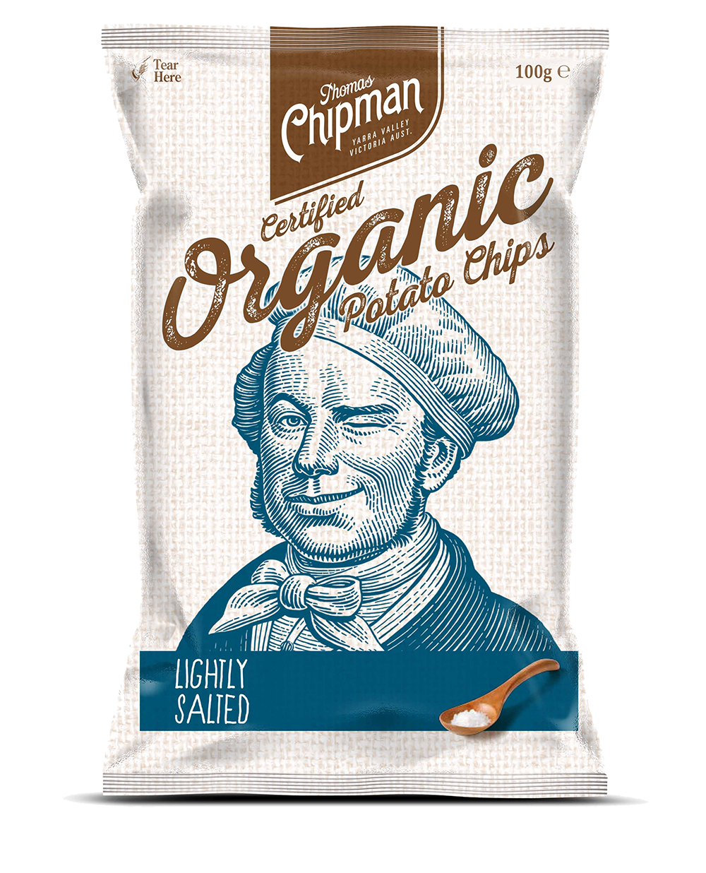 - Thomas Chipman® Lightly Salted Potato ChipsCreating a great tasting organic potato chip wasn't that difficult. Firstly, the potatoes are left in the most natural state possible – washed free of soil & then chipped, with their skins still on. Then they're gently cooked and finished off with just a sprinkle of sea salt. Available in a 100g pack