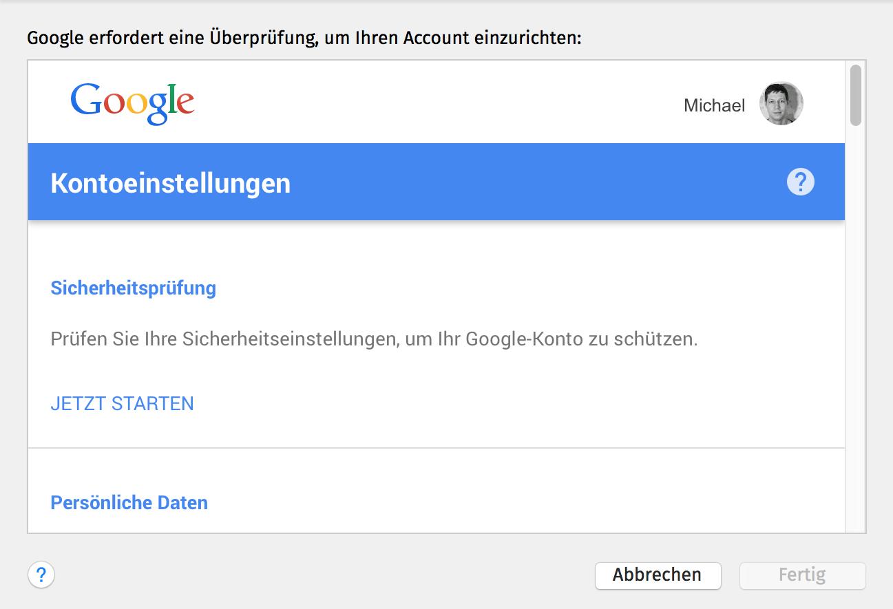 Anmeldeversuch gesperrt – Google-Konto in MacOS Mail gesperrt