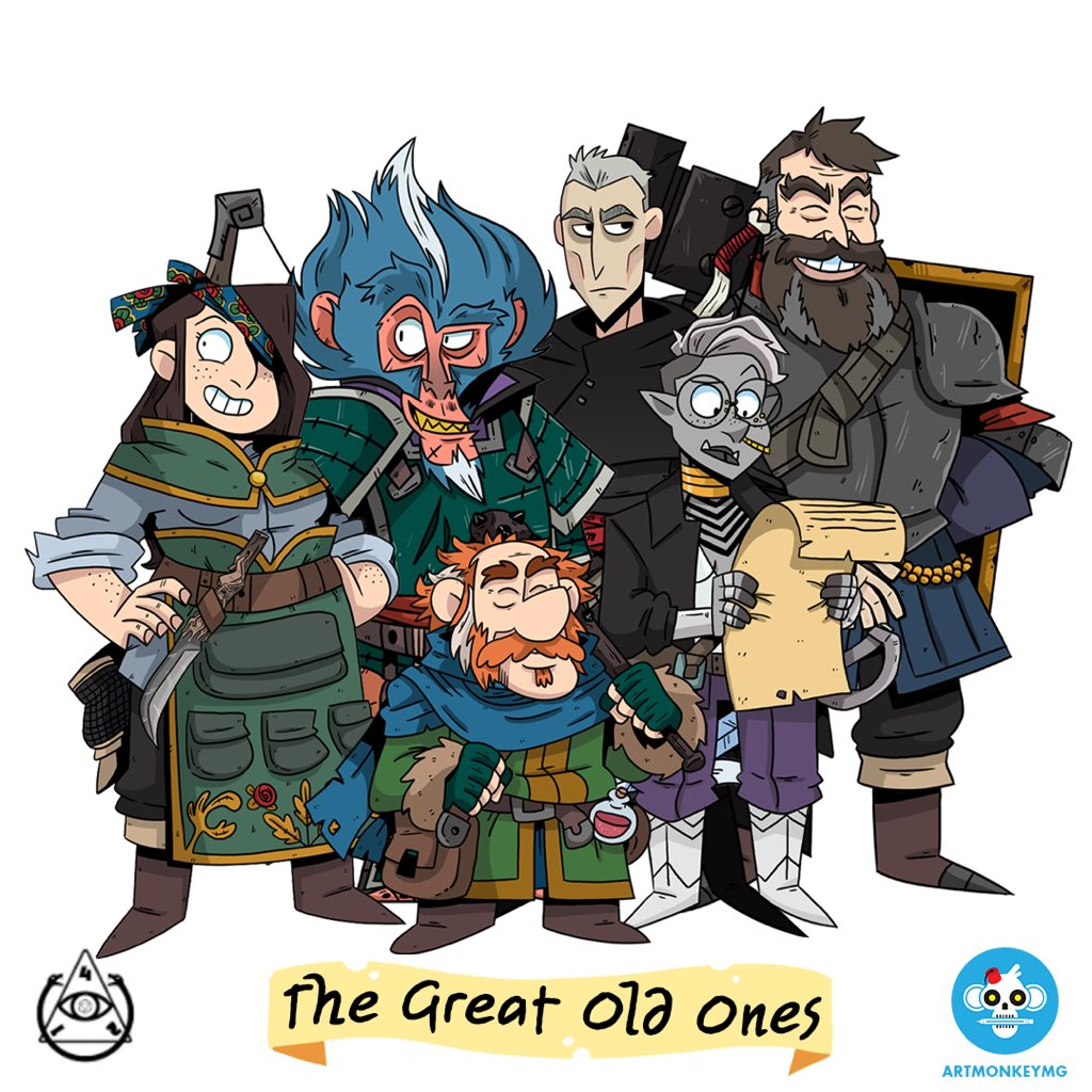 The Great Old Ones  cast of characters (top row, left to right) Nydia ( me ), Matevus ( Matt Garbutt ), Logoth ( J  on Michael ), Ogun the Anvil ( Jim Dietz ), (bottom row, left to right) Allaghan ( Matthew Allen ), & Raevi ( Taneka Stotts ).  Anton Kromoff  is the mastermind, world builder, and game master behind  Old Magic Gaming . The above art is by  Matt Garbutt .