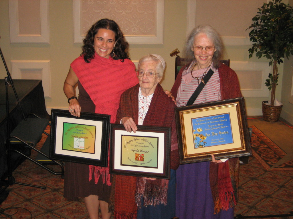 Christy receives the Sapling Award, with sister honorees, including Ina May Gaskin, honored with a Lifetime Achievement Award!