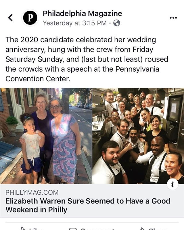 """The couple was spotted walking on Spruce Street early Friday evening by South Philly resident and midwife Christy Santoro, who said she and her child got the chance to speak to Warren about ""maternal health disparities and the Hahnemann closures."" Santoro said she also told Warren about the growing ""Philly for Elizabeth Warren"" Facebook group, where she posted photos of the meet-up."" #serendipity #netrootsnation2019"