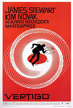 """Famed graphic designer Saul Bass used spiral motifs in both the title sequence and the movie poster for  Vertigo  to emphasize the """"psychological vortex"""" of the film."""
