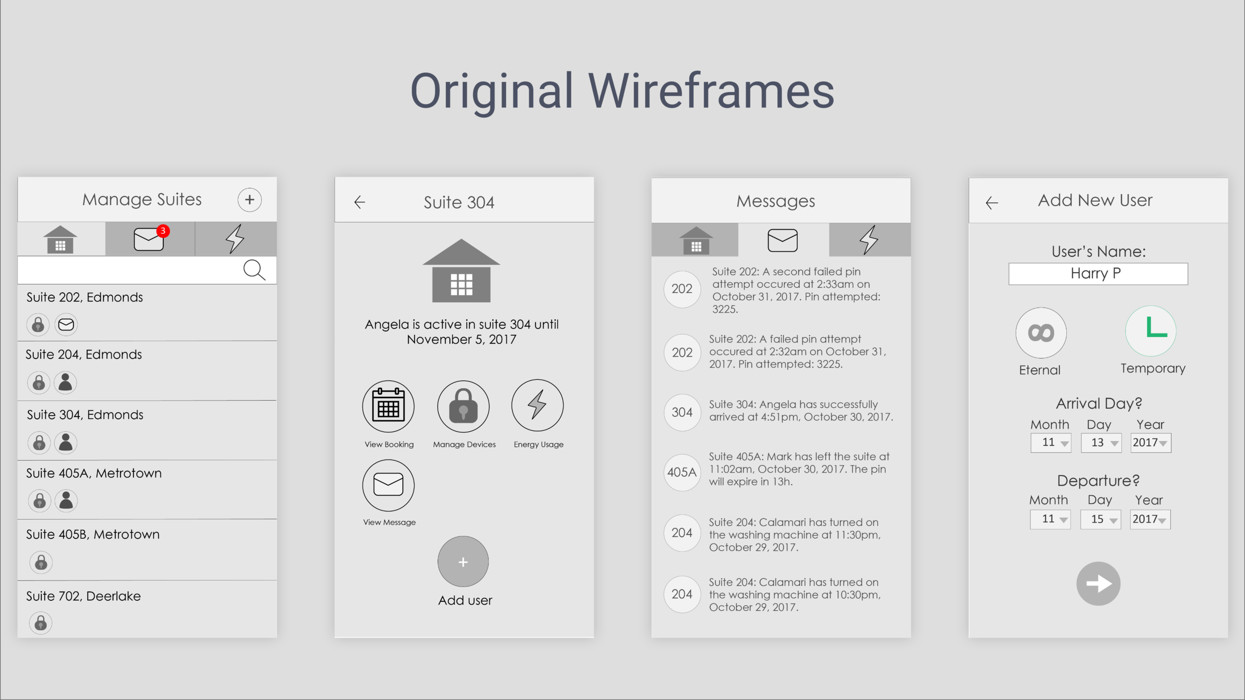 - Basic low-fidelity wireframes, emphasizing on:1. Being notified upon using smart lock2. Managing information by suites.What I learned is that the user interface was confusing and could be made better. Also it required a type of dashboard that allowed the user to see all different types of information.