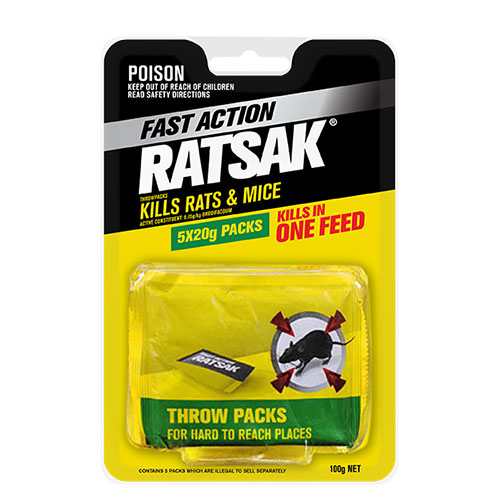 RATSAK® FAST ACTION THROW PACKS    RATSAK® Fast Action also comes in individual chew-thru throw packs, ideal for hard to reach places and there is no need to touch bait.
