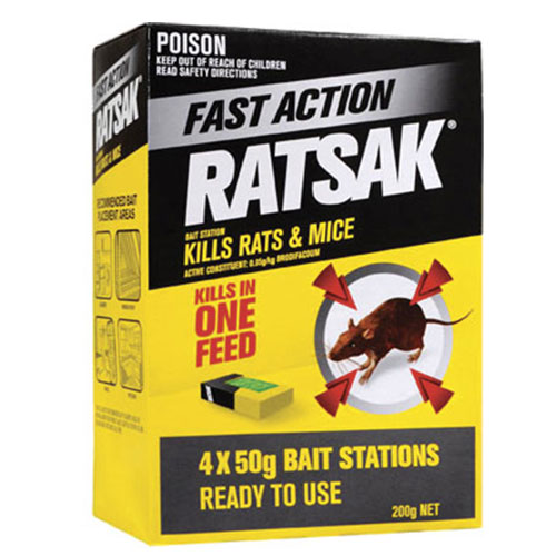 RATSAK® FAST ACTION BAIT STATION    RATSAK®   Fast Action is a single feed pellet bait in a ready to use bait station, so no need to touch bait. The active ingredient is the bait kills rats and mice in a single feed.