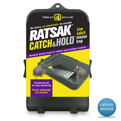 RATSAK®   CATCH & HOLD    ™ Live Catch Mouse Trap    Is a poison free alternative to control mice. It offers a humane solution for mouse control and provides peace of mind when using around pets and children. The traps sleek, yet sturdy design is ideal for both indoor and outdoor use and catch and holds up to 4 mice at anyone time .   Learn more