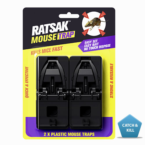 RATSAK® Mouse Trap - 2 pack    Is an innovative and unique designed mouse trap, which kills mice quickly and effectively. It is easy to use, 'one click' trap set for easy set up, and a bait well for easy baiting. This trap is not pre-baited.  Learn more