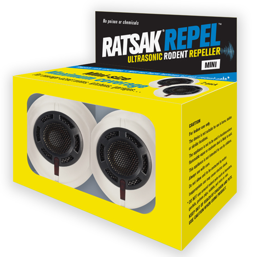 RATSAK® U    LTRASONIC RODENT REPELLER MINI    Mini size for maximum coverage! Plug into your home to repel rats and mice.