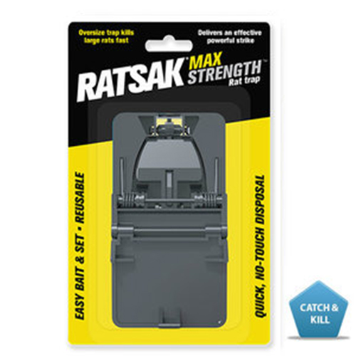 RATSAK® MAXSTRENGTH™ RAT TRAP    Is a reusable, plastic trap with strong powerful killing force. The robust design quickly and effectively controls unwanted rats of all sizes in and around your home. For added safety, the trap is designed to be baited before it is set through the baiting window. No touch, no fuss.  Learn more