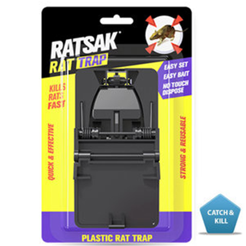 RATSAK® Rat Trap    RATSAK® Rat Trap is a reusable trap with serrated jaws for a poison free rodent control solution.