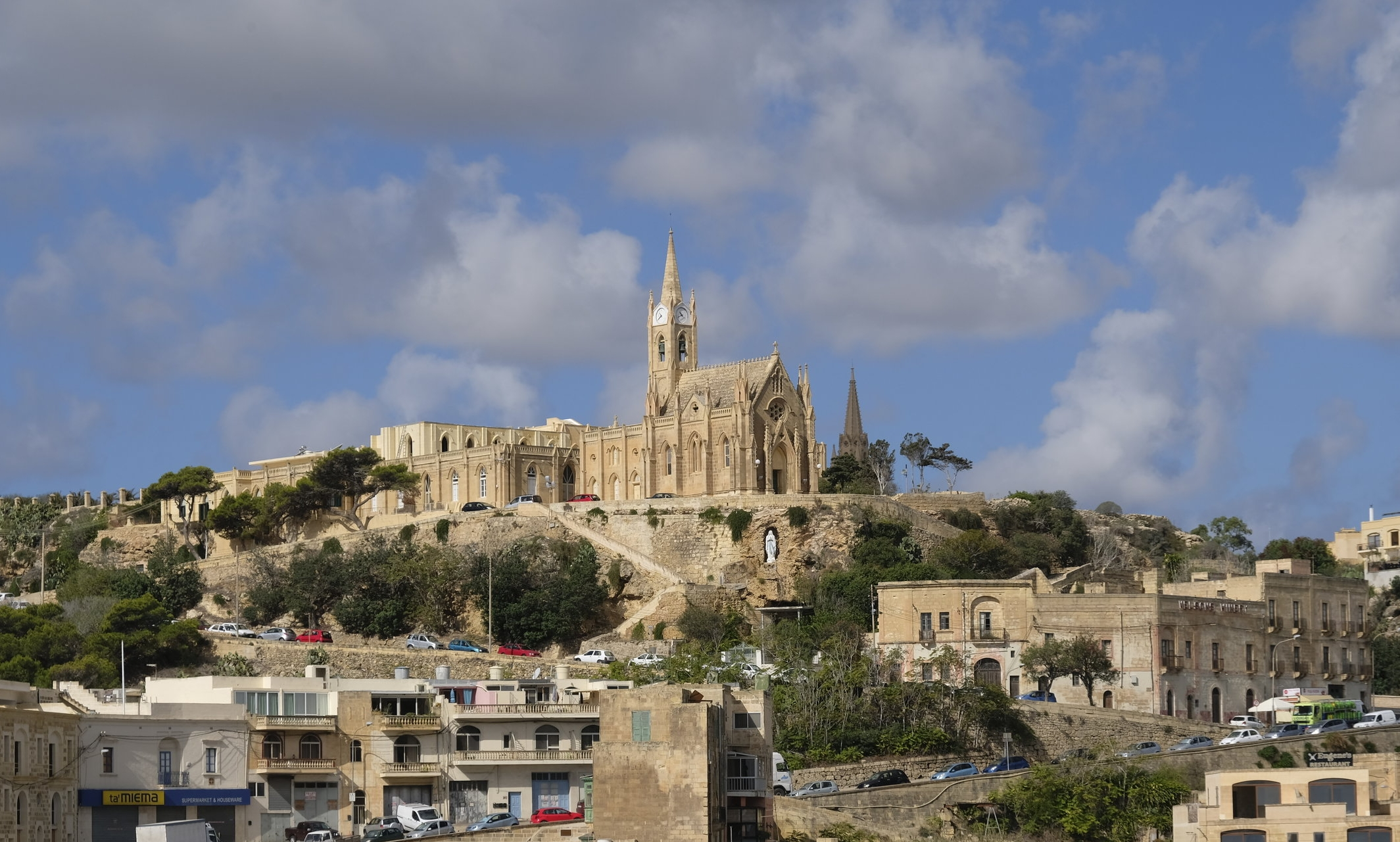 View of Gozo from the island's ferry terminal  © Paul Wheatley