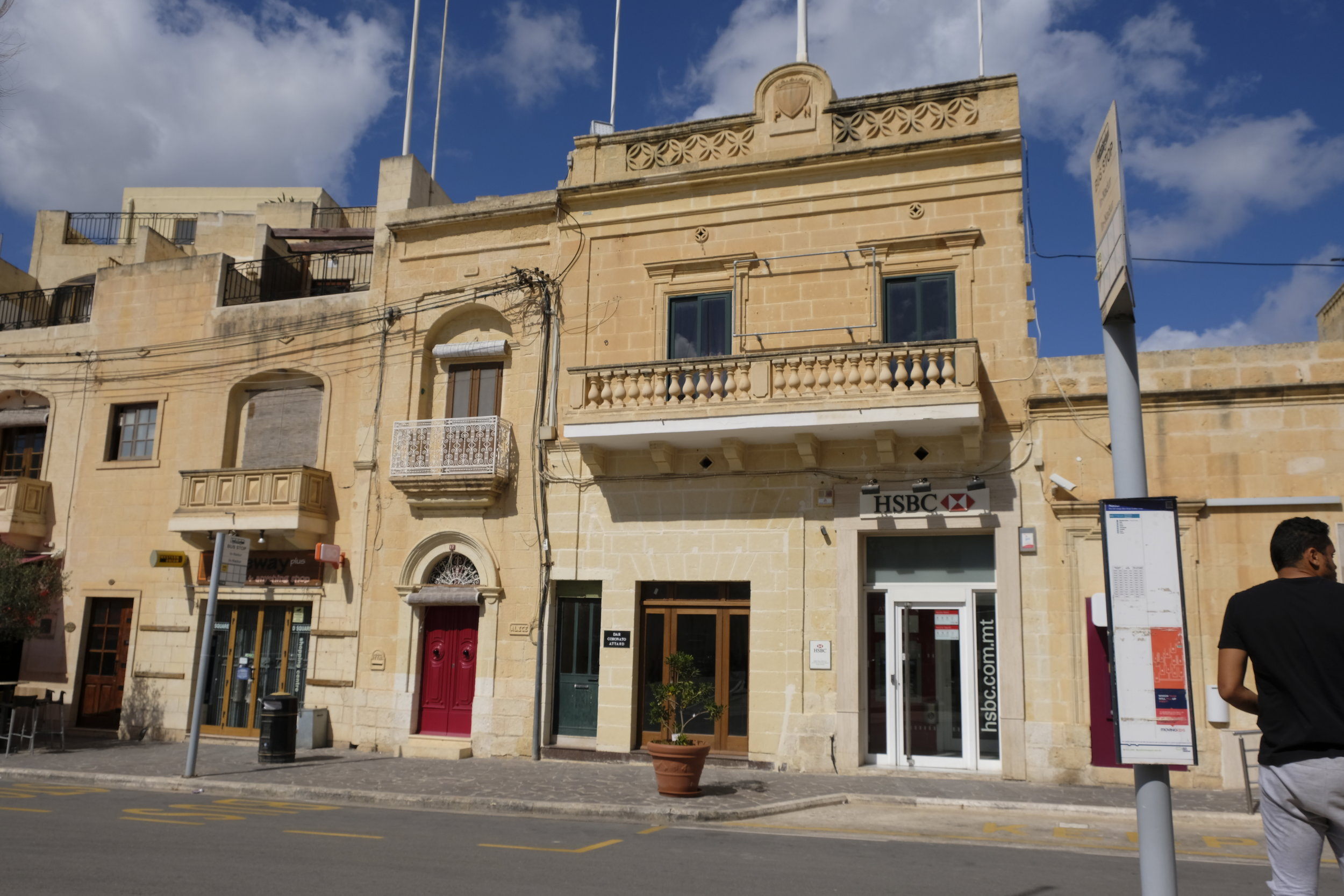 Traditional Gozo architecture, now also home to a bank