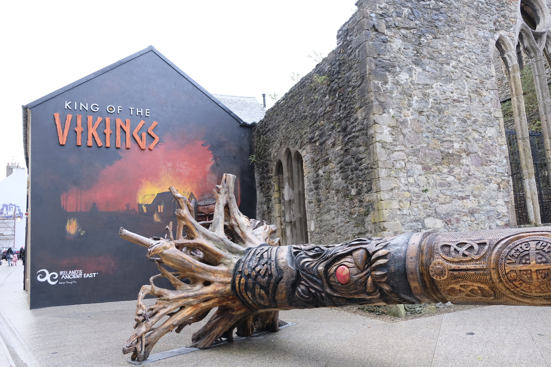 King of the Vikings virtual reality exhibition and the world's largest Viking sword, carved on a fallen tree  [© Paul Wheatley]