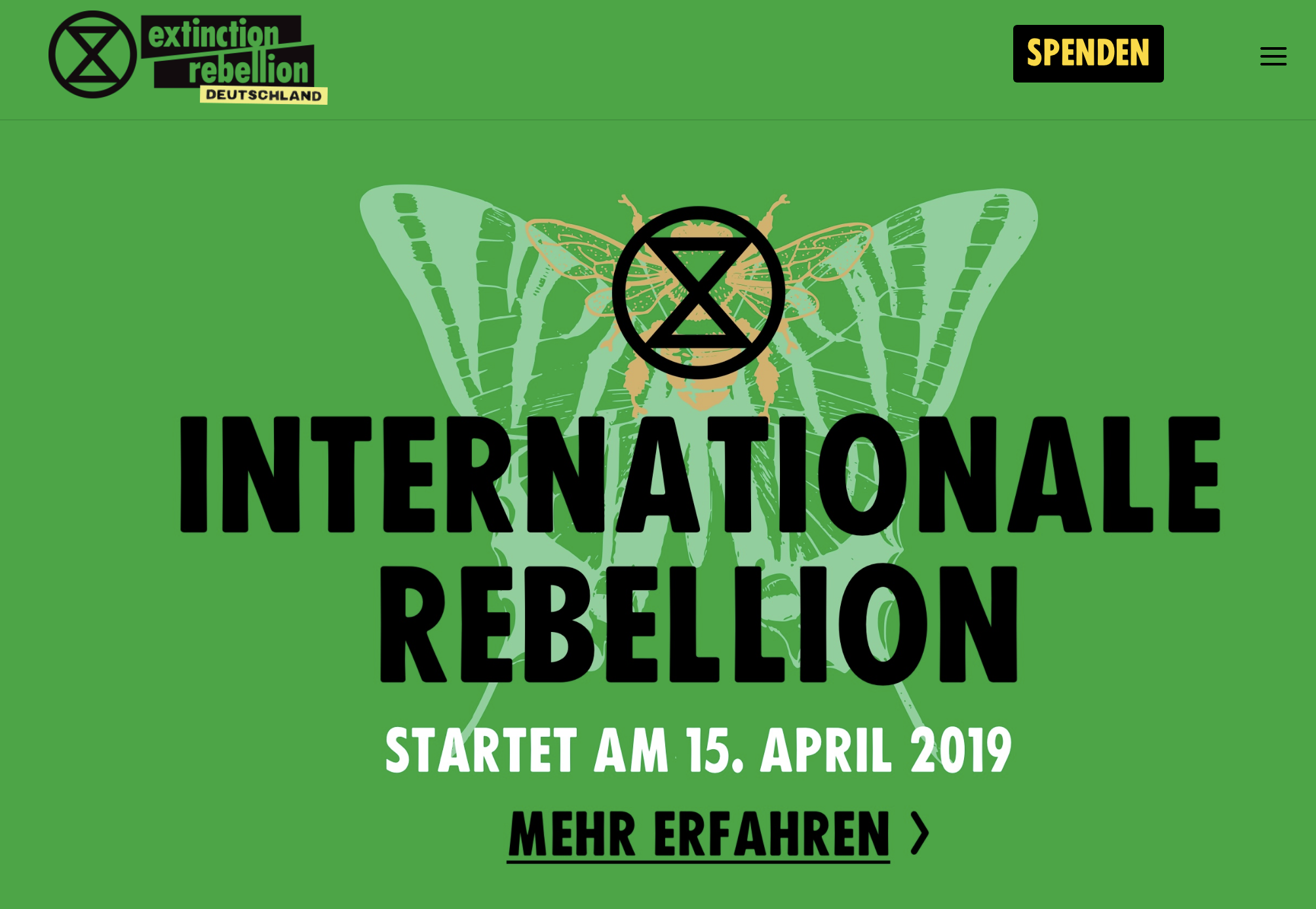 Screenshot from  https://extinctionrebellion.de/