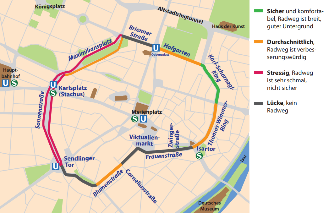 This image shows Munich's inner city ring road and the ease of cycling around it - with green representing safe and comfortable and black no cycle lanes at all (image: Radentscheid München)
