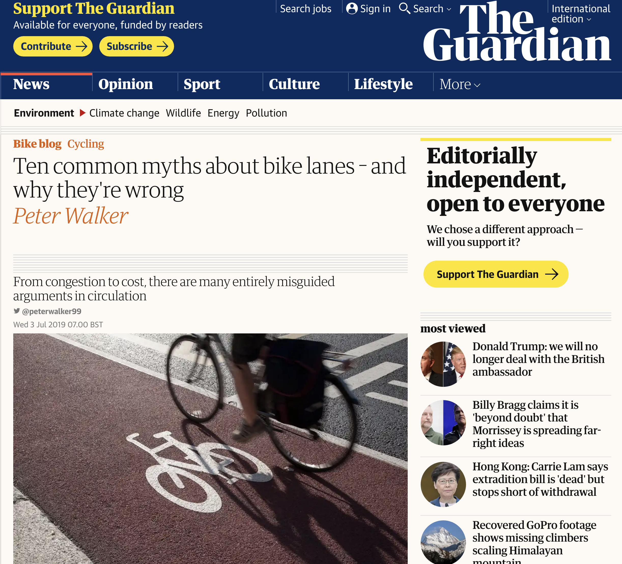 Guardian article  on 'ten common myths about bike lanes - and why they're wrong'