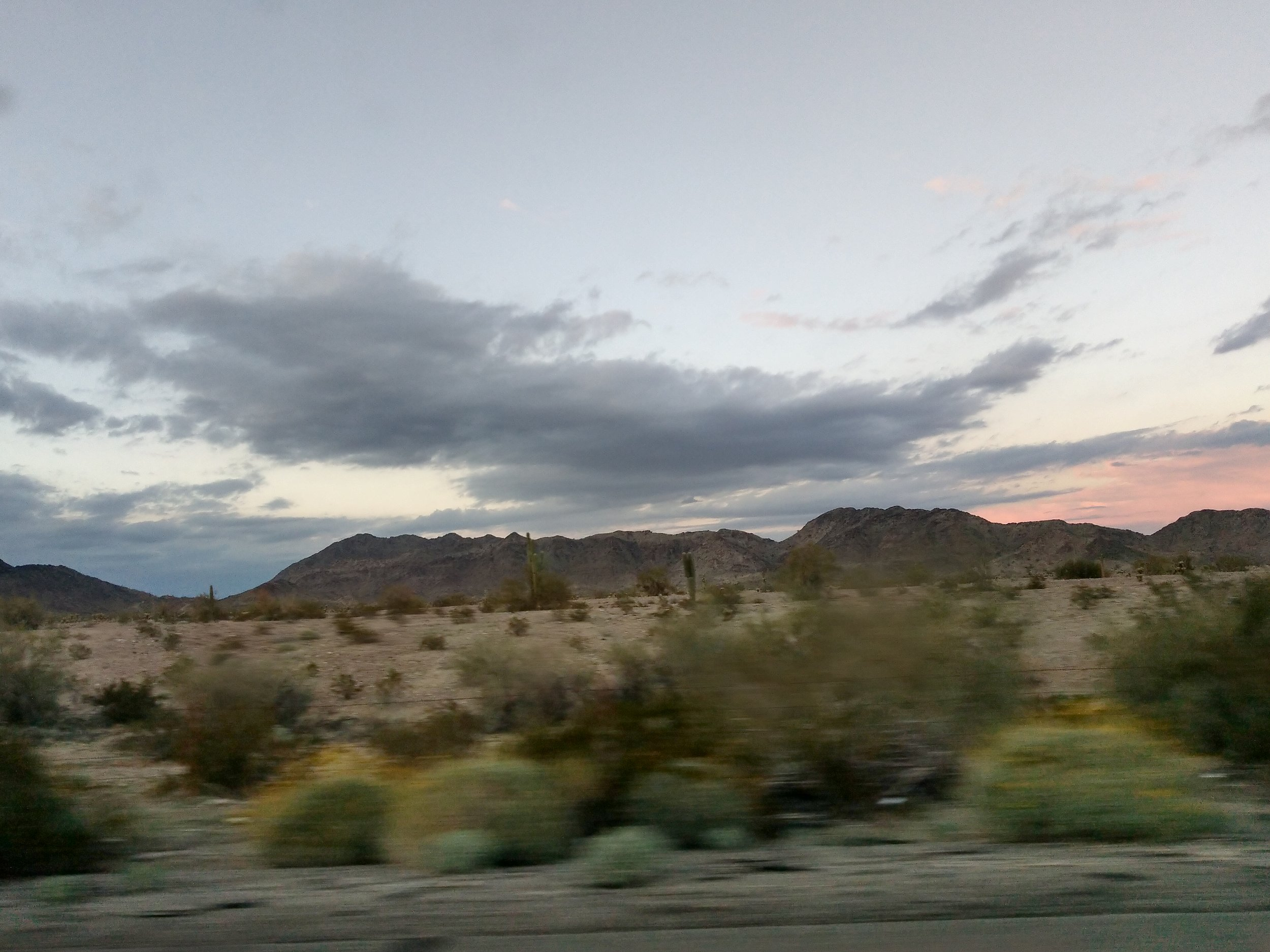 The foreground's a blur as we were starting to drive back, but a few saguaro cacti are visible in the background.
