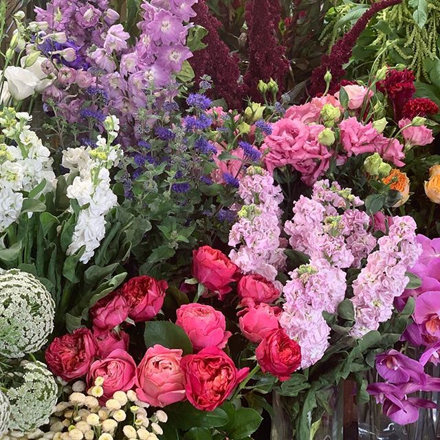 Our flower table is brimming with beautiful blooms ready to make up that special something #gorgeousblooms