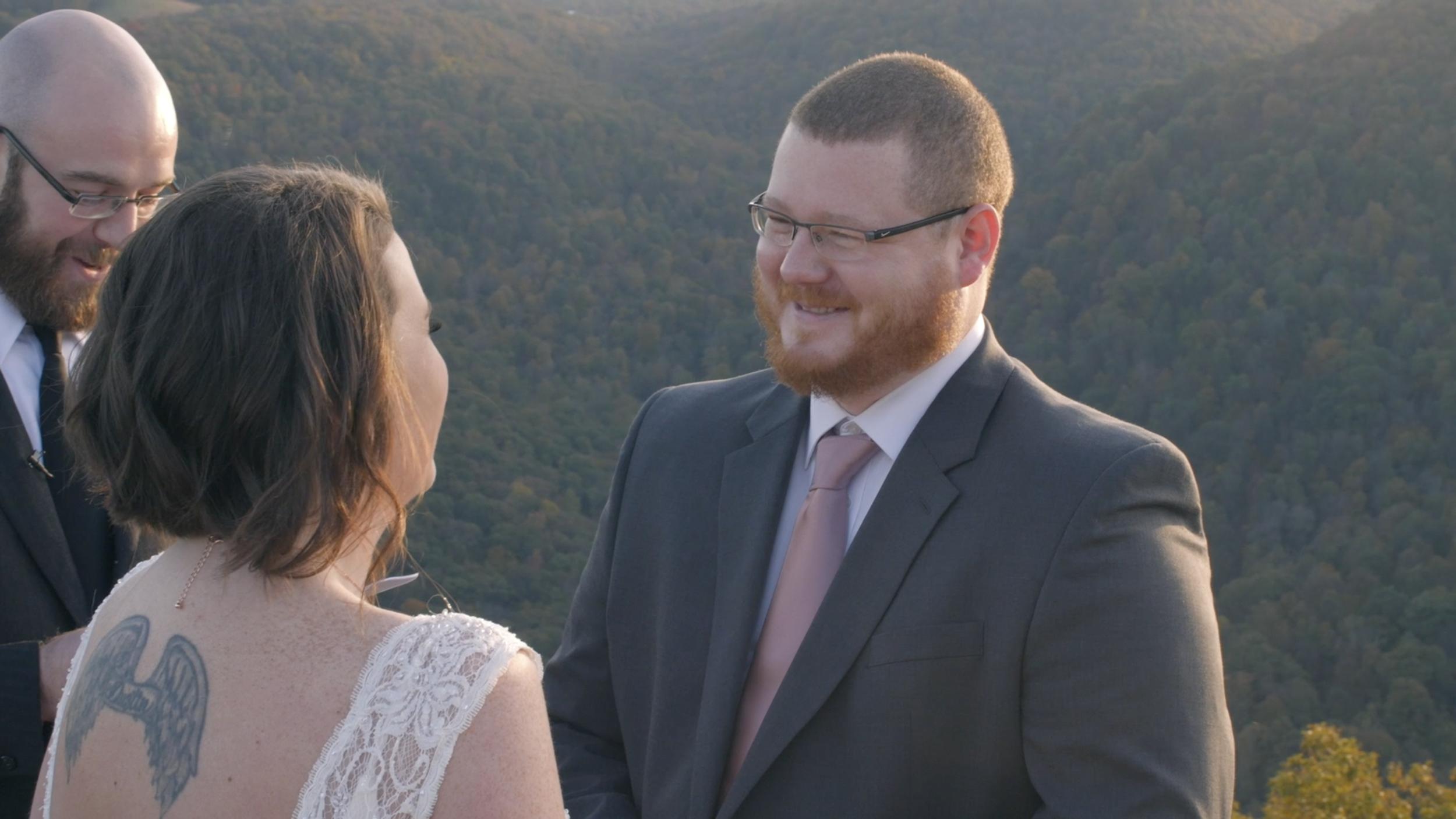 groom vows coopers rock elopement