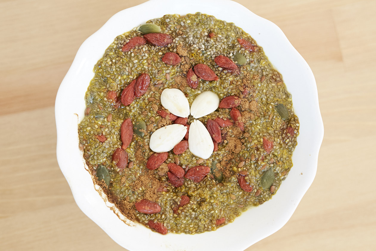 Chia seed, tumeric, goji berry breakfast bowl - recipe from  Katie   - Katie's Mindful Kitchen. London
