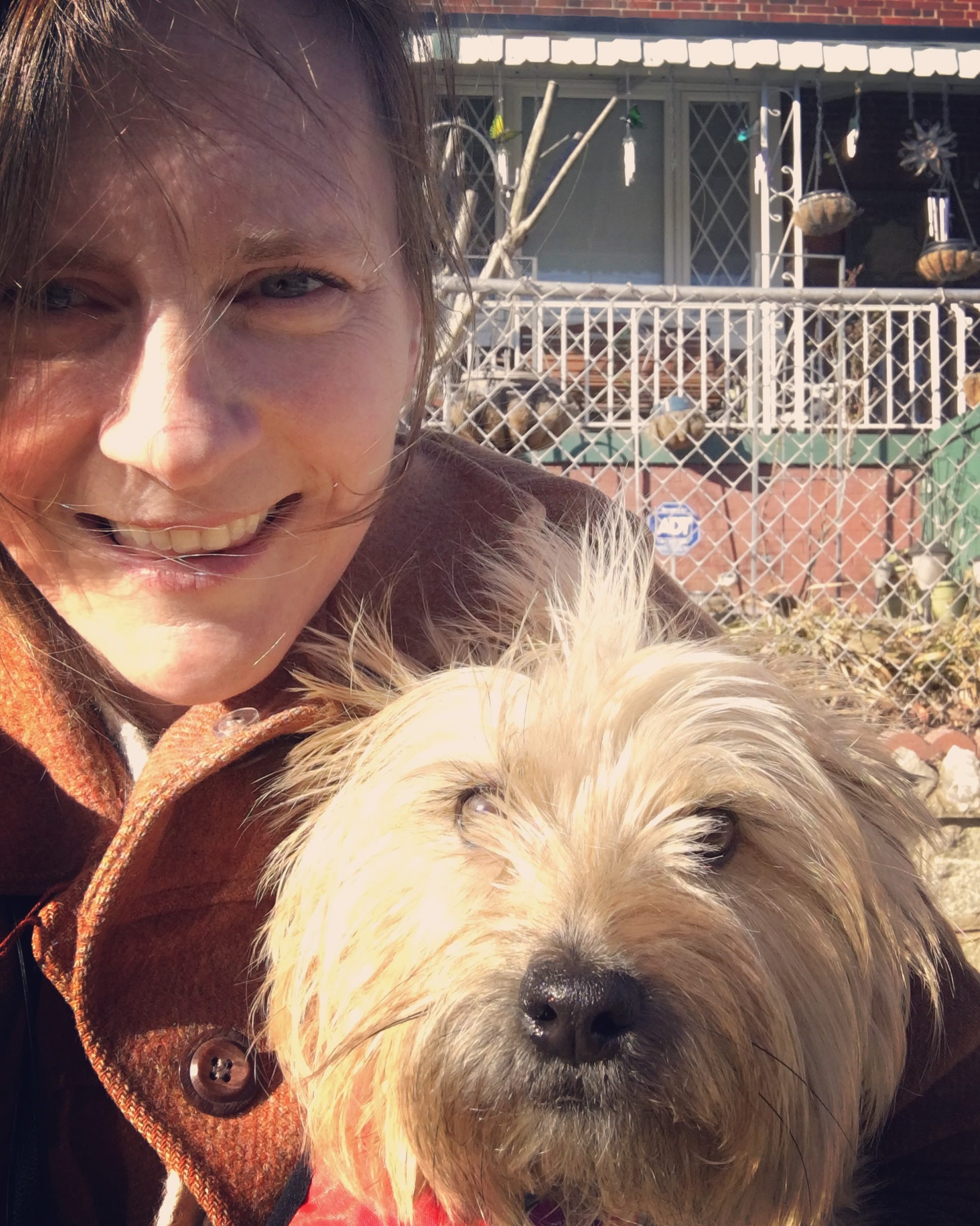 Owner and operations manager, Annie Wolfson, with happy client, Fern.
