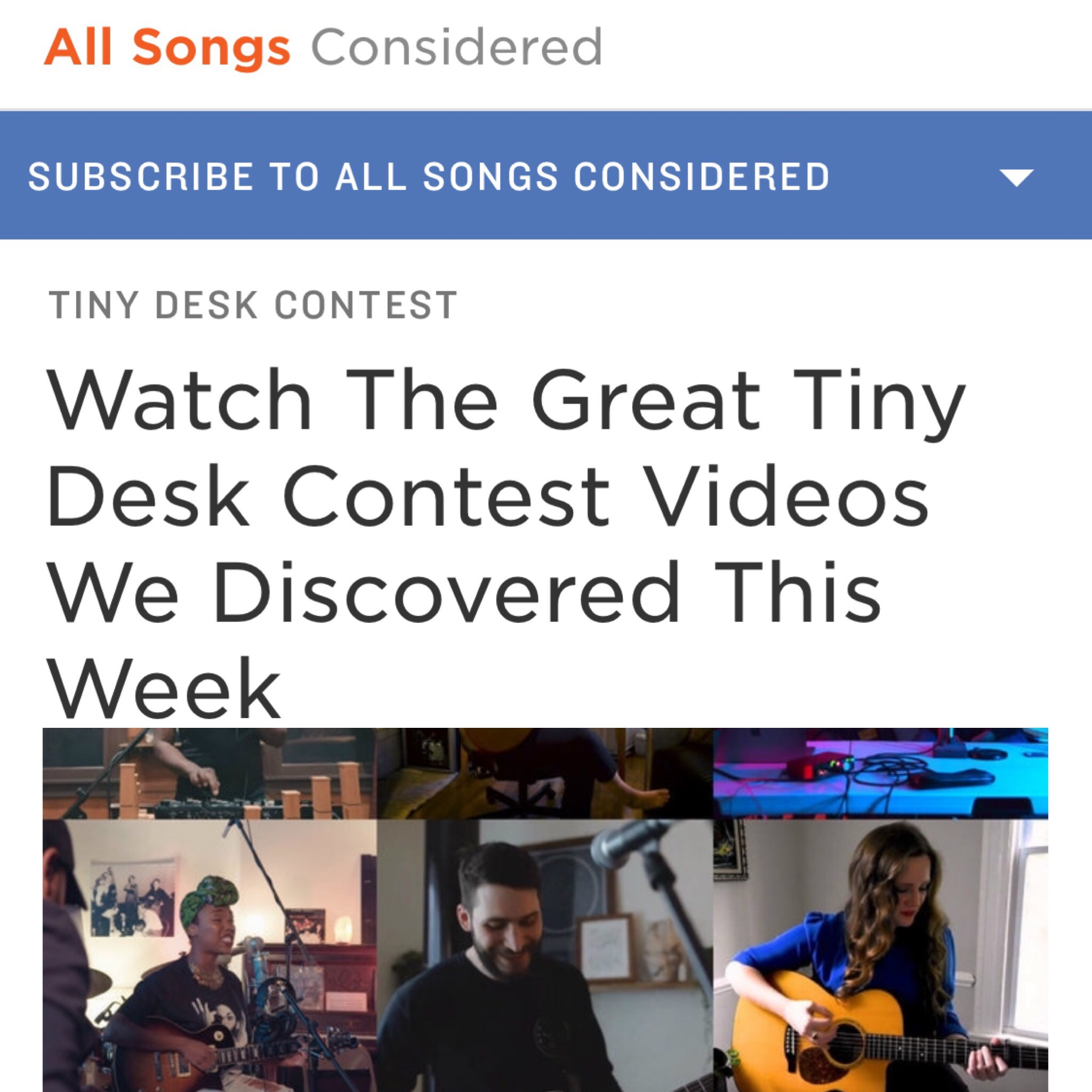 Erin gets chosen as an NPR Favorite again! - Erin's entry to the NPR Tiny Desk Competition 2019 was selected as an entry that they loved and featured on the All Songs Considered Blog. Click the picture for the video. Here's the NPR feature: https://www.npr.org/sections/allsongs/2019/05/02/718966551/watch-the-great-tiny-desk-contest-videos-we-discovered-this-week