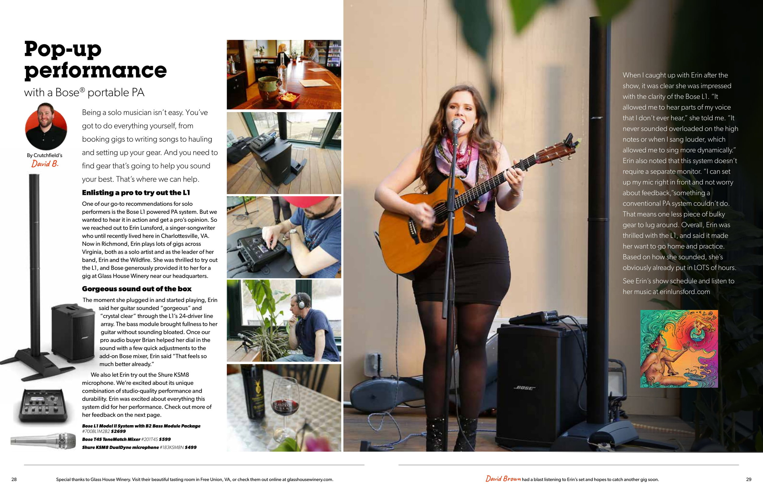 Erin was featured as a centerfold in Crutchfield Magazine's summer issue! She also received a Bose Sponsorship! Check out the interview and video from clicking on the picture!