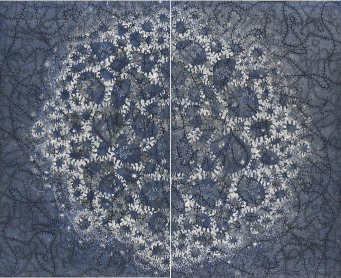 Nachthimmelweltflimmerzentrum 197x242 cm, 2013